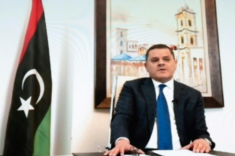 Abdel Hamid Dbeibah, Premier ministre par intérim de la Libye, le 3 février 2021 près de Genève