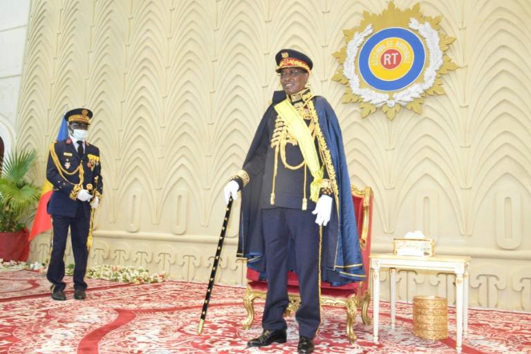 Le président tchadien Idriss Deby lors de sa réception officielle du titre de maréchal, le 11 août 2020 à l'assemblée nationale tchadienne à N'Djamena
