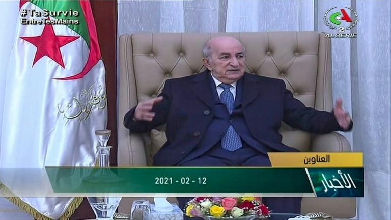 Image tirée d'une vidéo du président Abdelmadjid Tebboune à son retour à Alger, après un mois d'hospitalisation en Allemagne, le 12 février 2021