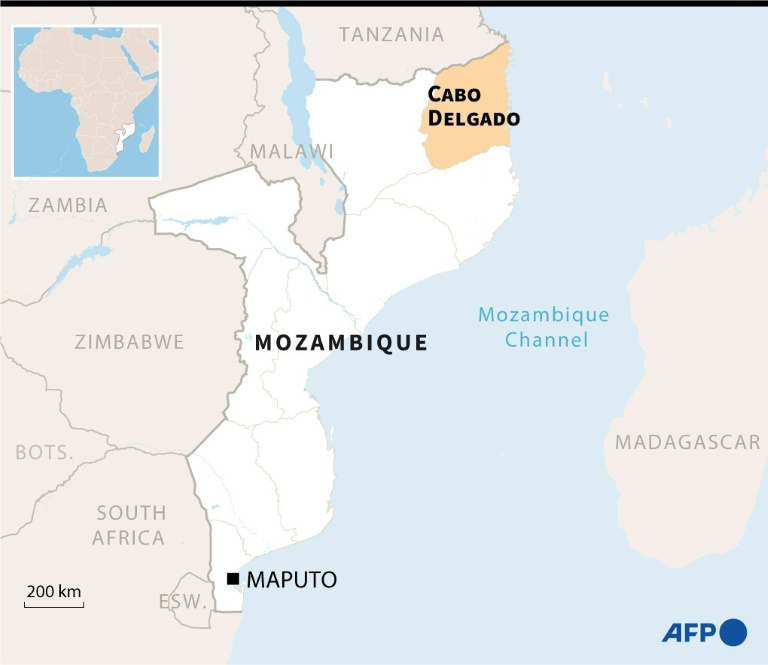 Map of Mozambique highlighting restive Cabo Delgado province
