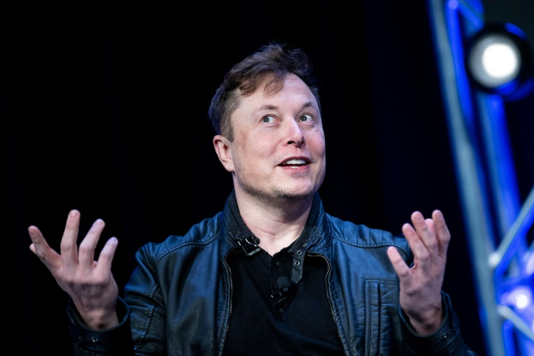 This file photo from March 9, 2020 shows Tesla boss Elon Musk speaking at an event in Washington; he has denied that his cars could be used to spy on China
