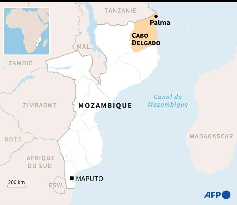 Carte du Mozambique localisant la province de Cabo Delgado et la ville de Palma