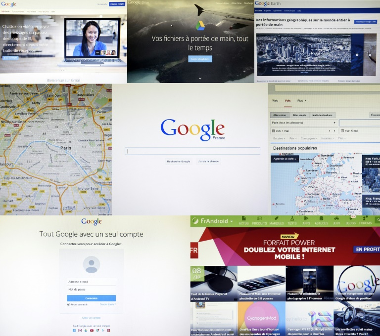 Gmail, Google Drive, Google Earth, Google Maps, Google France, Google Flight, Google + et Android