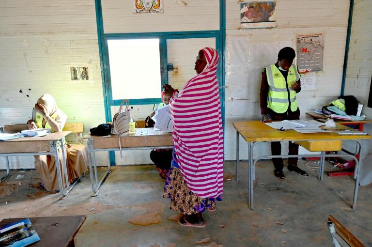 Un bureau de vote à Niamey le 21 février 2021 ouvert pour le second tour du scrutin présidentiel