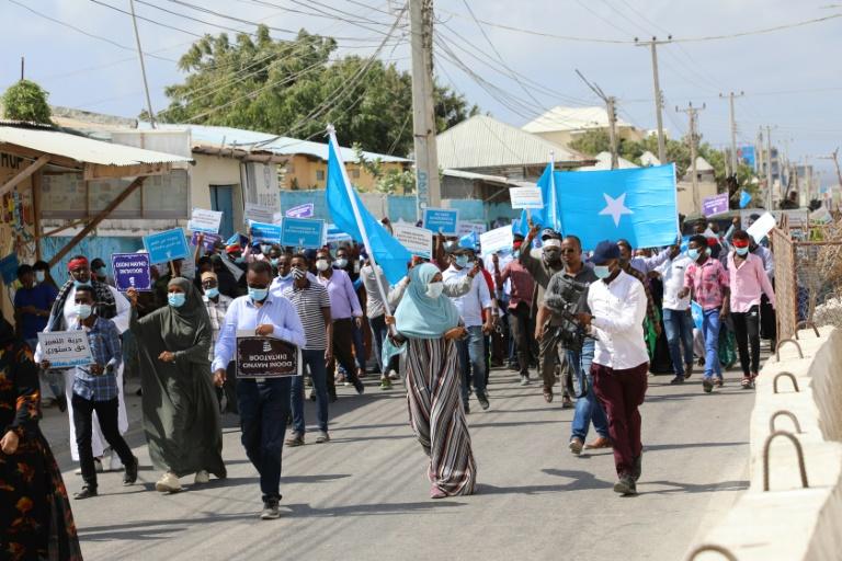 Manifestation de l'opposition, le 19 février 2021 à Mogadiscio, en Somalie