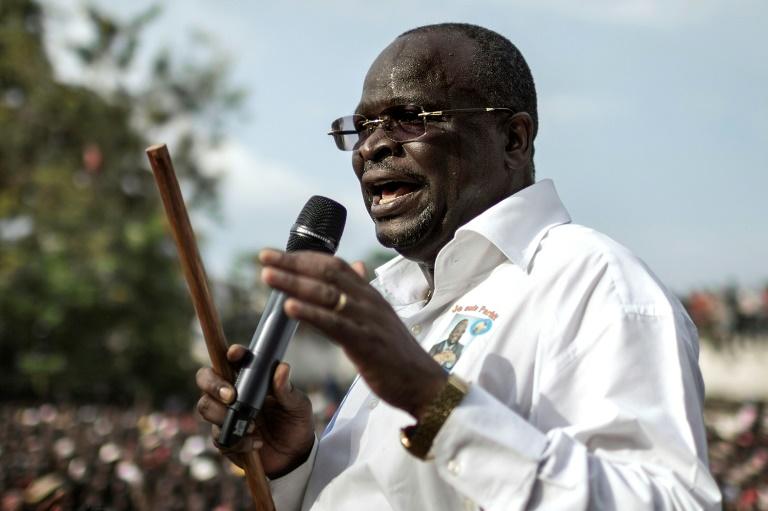 Guy-Brice Parfait Kolélas, candidat à l'élection présidentielle au Congo, à Brazzaville le 17 mars 2016
